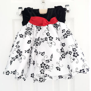 Rare Editions Flocked Velvet Bow Dress Black 3-6M